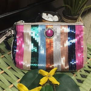 Coach Sequined Multi Colored Striped Wristlet